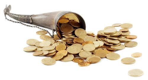 horn med guldpenge